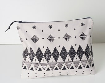 Large Screen Printed Zipper Pouch, Large Toiletry bag, Cosmetic bag.