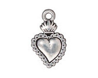 5 Pc Sacred Heart Charm 21x13mm Antique Silver Finish TierraCast Charms, silver heart charm wholesale - P2322SA