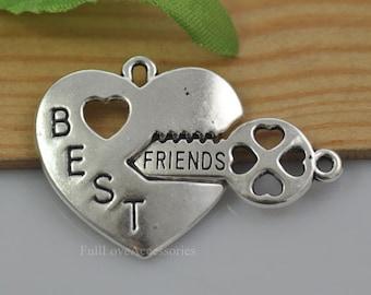 10sets Best Friends Heart Charms, 11x18mm Antique Silver Best Friends Heart-shaped Key and Lock Charms Pendant