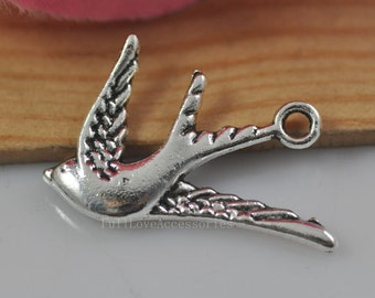 15pcs 17x26mm Antique Silver Swallow Charms Pendants, Antique Silver Bird Charms Pendant