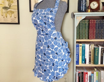 Blue Floral Apron with Frilly Skirt