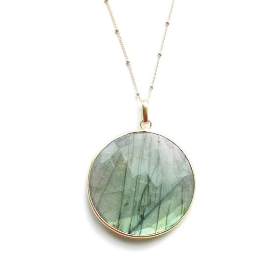 Labradorite Necklace, Labradorite Pendant, Labradorite Jewelry, Gold Labradorite, Long Gold Necklace, 14k Gold Filled Satellite Chain,