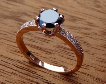 Classic Vintage / Antique Style Black Diamond Solitaire Engagement Ring 14k Rose / Pink Gold