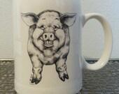 Vintage Kitschy Ceramic Smiling Pig Mug