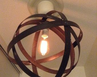 Metal orb chandelier