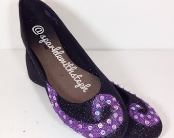 Sea Witch Shoes - Ursula Shoes - Tentacle - Little Mermaid Shoes - Glitter Ballet Flats