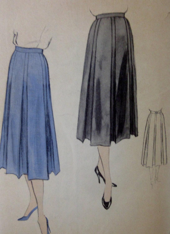 vintage 1950s all around pleated skirt pattern vogue 8314