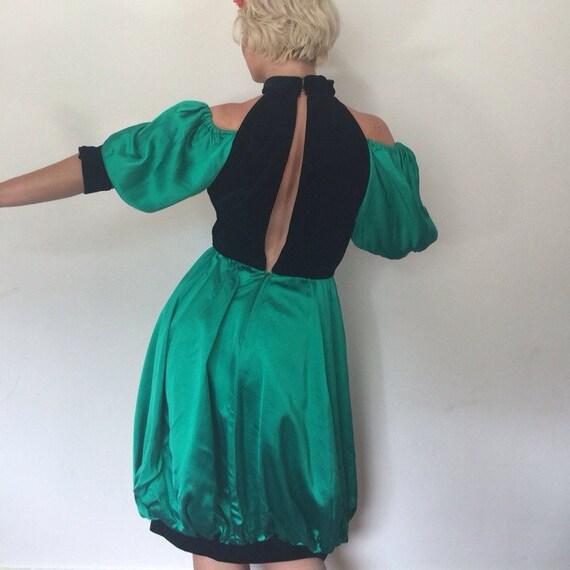Cold shoulder vintage bubble dress Emanuel Ungaro 1980s puffball cocktail dress green satin black velvet UK 8 10