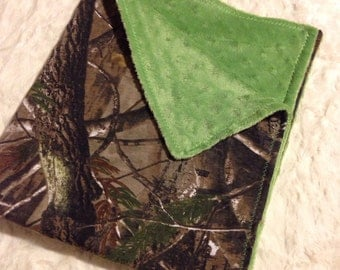 Camo and green baby blanket -  green minky dot and realtree camo camouflage baby boy blankie