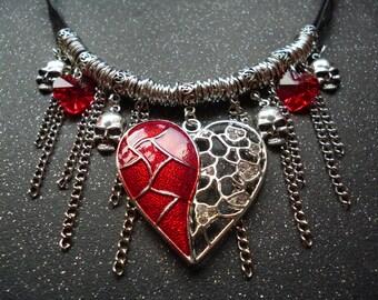 Heart & Skulls Ribbon necklace