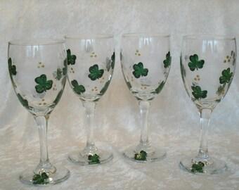 SHAMROCK WINE GLASSES set of four
