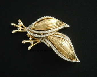 CINER Ladies Fashion Costume Jewelry Gold Plated w/Sparkling Cluster Crystal Rhinestone Accents The Lovelies Snail or Leaf Shapes Brooch Pin