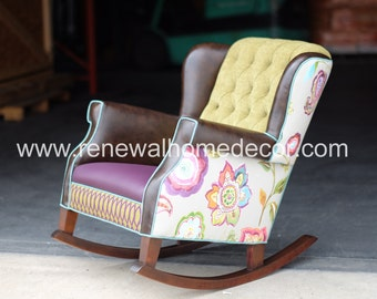 Upholstered nursery rocking chair, custom designed for your nursery or any room in your home - CUSTOM ORDER