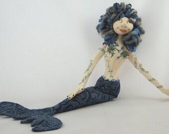 Art Doll-Wyr the Mermaid OOAK Cloth Doll