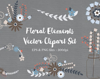 Floral Wreath Clipart Vector Files - High Quality PNG, JPG and EPS - Digital Scrapbook elements - Instant download