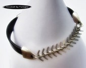 Fishbone Chain and Leather Bracelet - Antique Silver Fishbone Chain and Chocolate Brown Leather - Magnetic Clasp