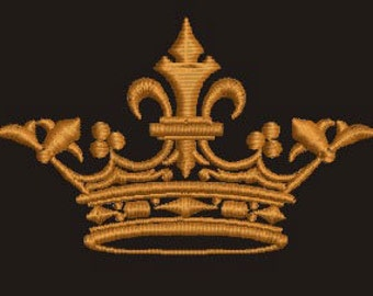crown embroidery design -  3 sizes 160mm, 100 mm width  (4 Inch),  75mm