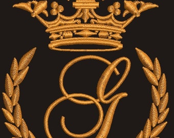 """Crown, laurel wreath and the monogram letter """"G"""" - Machine embroidery design,   design tested."""