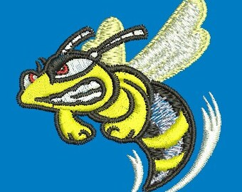 angry hornet - Machine Embroidery Design - 55*55mm / 2.2*2.2 inc / 6900 stc.