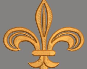 Fancy Fleur de lis - Embroidery Designs 4inc / 3 inc /2 inc.