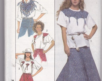 Simplicity 9118 Vintage Pattern Womens Skirt & Shorts With Variated Hems, Top and Scarf Size Large UNCUT