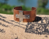 Hand hammered antique copper and aluminum cross cuff.
