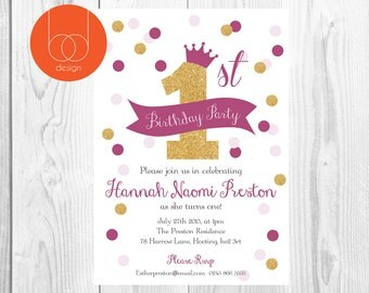 1st Birthday Party Invitation Confetti Themed