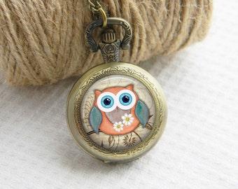 Owl Pocket Watch Necklace Art Photo Pendant Watch Locket Women Necklace (067)