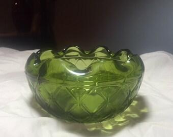 Mid Centur modern glass green bowl