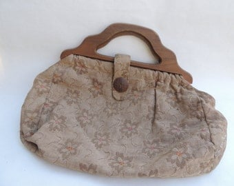 Vintage Tapestry Sewing Bag Wooden Button & Handles