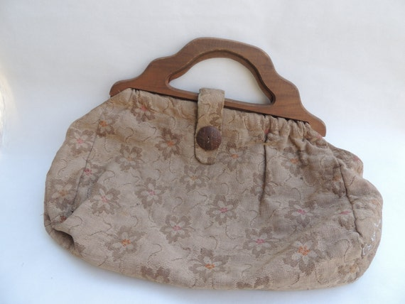 Paper Bag Book Cover With Handles : Vintage tapestry sewing bag wooden button handles