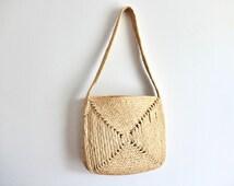 Vintage 70s macrame / rope shoulder bag, 1970s