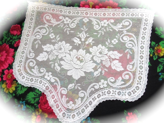 Lace Curtain Short French Ivory Lace Panel Wall by Mydaisy2000