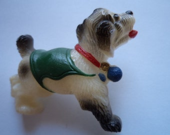 Vintage Fabulous  Plastic Playful Dog wearing Green Jacket Brooch/Pin