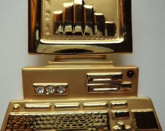 Vintage AJC Signed Goldtone Computer Brooch/Pin