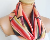 Orange, Black, White, Colar color scarf, infinity loop scarf...