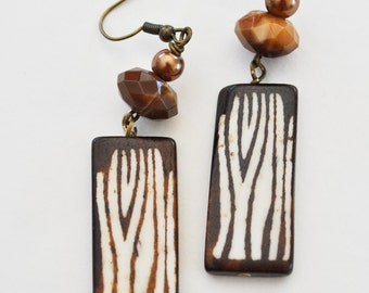 Brown Zebra earrings with Czech glass beads
