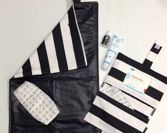 Rilos and MiMi Black & White Striped Diaper Clutch Changing Pad Set - Ready to Ship- Great Baby Gift