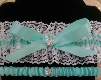 Beautiful double lace (white or ivory lace) garter set with pool blue/ light turquoise