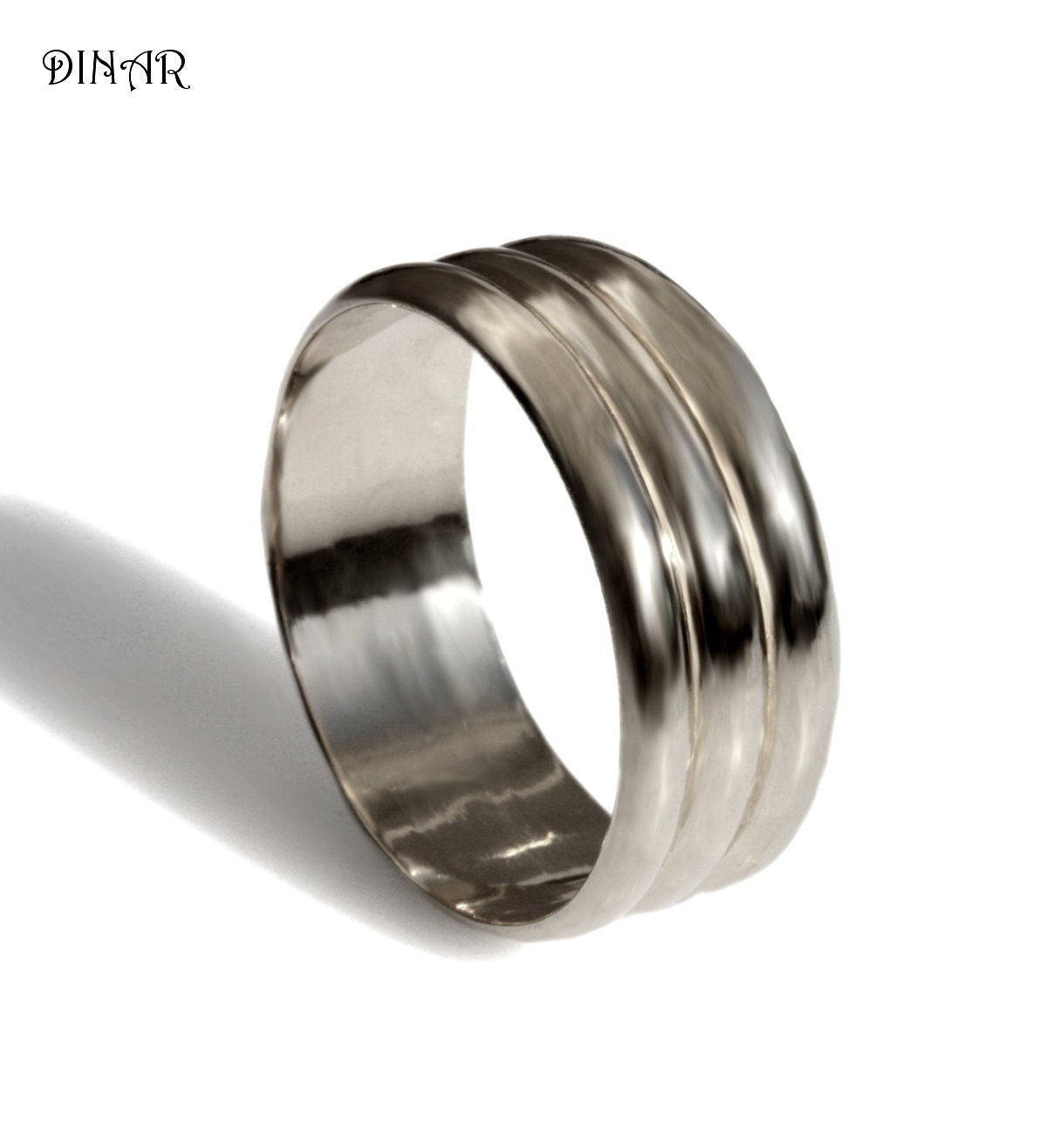 Wide 14k White Gold Wedding Band Womens Band Men By DINARjewelry