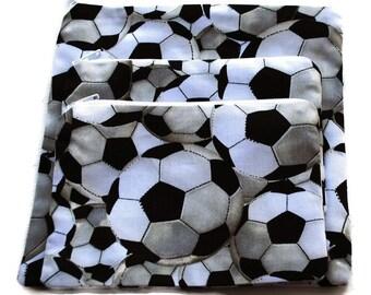 Reusable Sandwich Snack Bags set of 3 Zipper Bags Soccer Balls