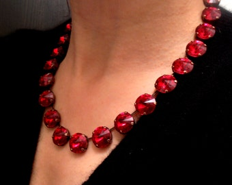 Swarovski Necklace, Siam Red, 14mm, Rivoli, Crystal, Choker, Antique Copper setting, Tennis, Anna wintour Necklace