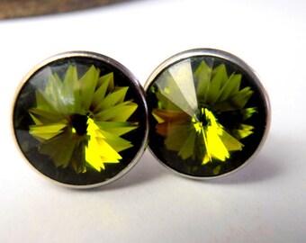 Olivine Green Swarovski Earrings / Rivoli Studs / Pierced Crystal Earrings / 1122 12mm Round / Costume Jewelry / Gift for her