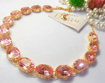 Swarovski Crystal Collet Necklace / Statement Necklace / Rosaline Oval Choker Necklace / Art Deco / Gift for her