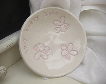 Buzzy Bees Pink Ceramic Dish