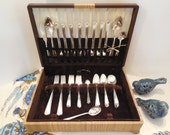 LIQUIDATION SALE Ends On Friday- 1930 Art Deco Silverplate Set for 8 Tempo/Stoneleigh Pattern, Vtg Nobility Plate Grille 59 Pieces 8 & Chest
