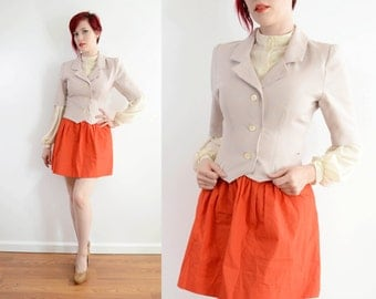 50s Houndstooth Short Sleeve Jacket - Gray / Peach Fitted Blazer - Mad Men Secretary - Mod Professional // Xs Small