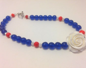 Patriotic Rose Necklace