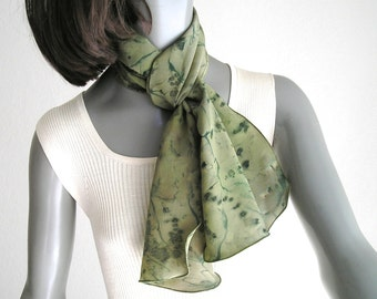 Hand Painted Scarf, Hand Dyed Silk, Sage Olive Avocado, Muted Green, Unique Scarf, Made to Order, One of a Kind, Artist Handmade, Jossiani