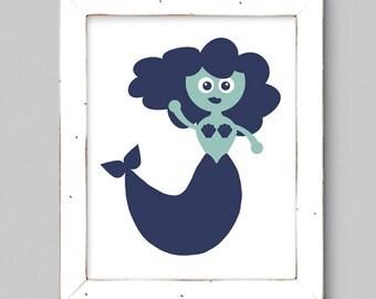 Nautical Mermaid Wall Print - 8x10 - Navy and Aqua